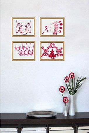 Authentische & kraftvolle Bilder | garego Artprints | Kunst online kaufen|4 Motive|Schattenfugenrahmen Eiche Natur|30x20cm|Gabriela Goronzy|