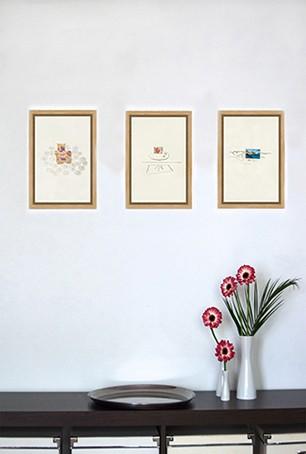 Authentische & kraftvolle Bilder | garego Artprints | Kunst online kaufen | 3 Motive | Schattenfugenrahmen Eiche natur | Erle braun | 30 x 20 cm|Jutta Konjer